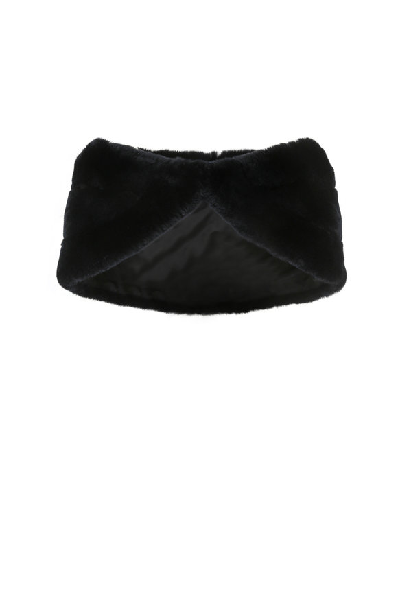 Viktoria Stass Black Rabbit Fur Stole
