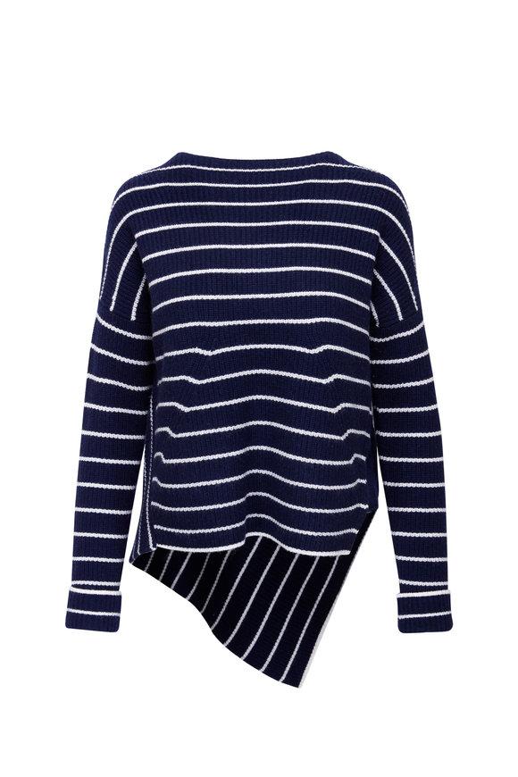 Brochu Walker Navy & White Striped Asymmetric Sweater