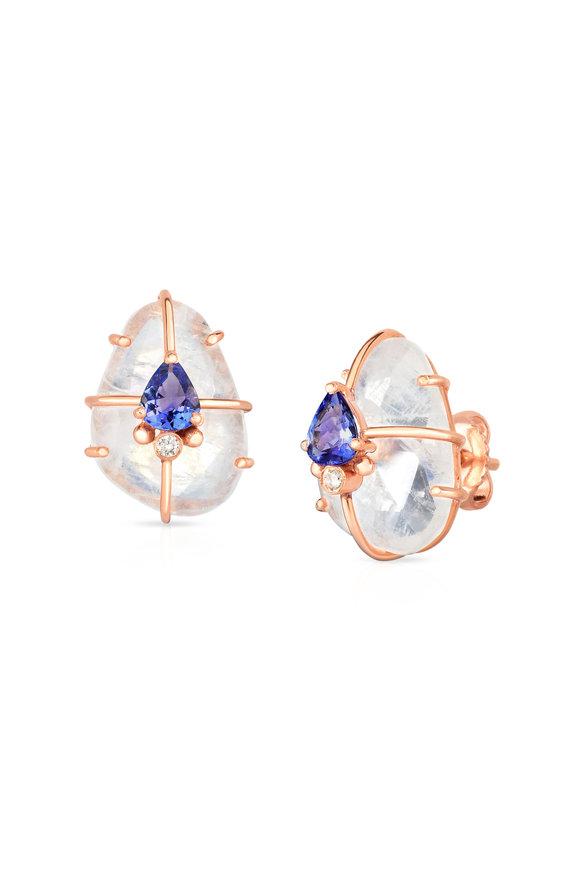 Loriann 14K Rose Gold Moonstone & Tanzanite Caged Earrings