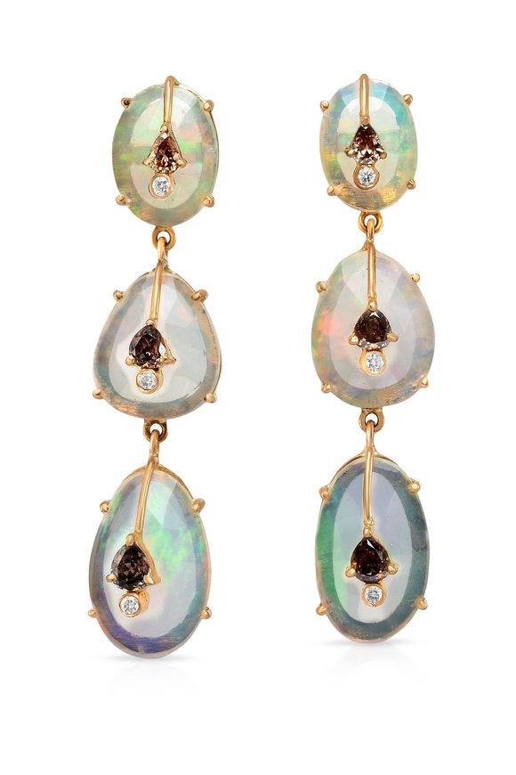 Loriann 14K Rose Gold Opal 3 Tier Earrings
