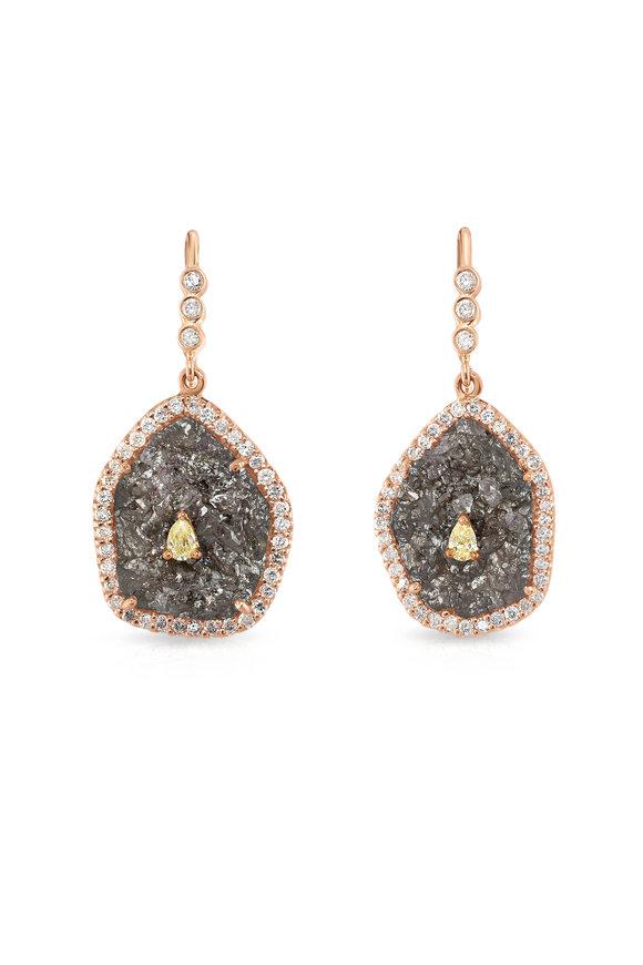 Loriann 14K Yellow Gold Diamond Druzy Earrings