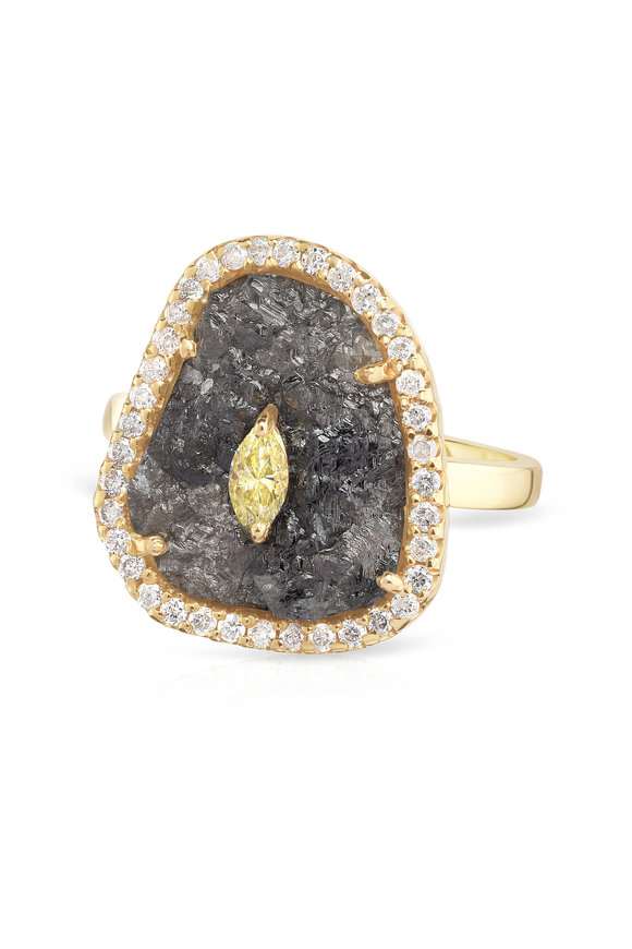 Loriann  14K Yellow Gold Diamond Druzy Ring