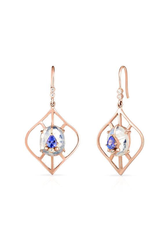 Loriann 14K Rose Gold Moonstone Lantern Earrings