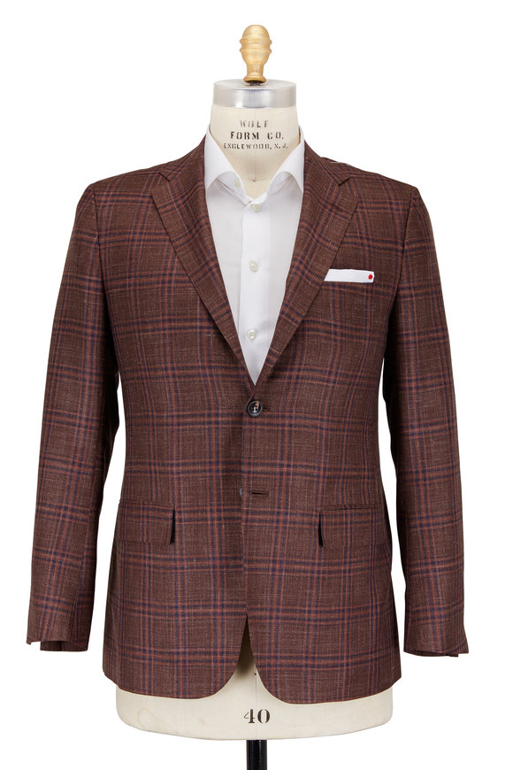 Kiton Rust Silk, Cashmere & Linen Plaid Sportcoat