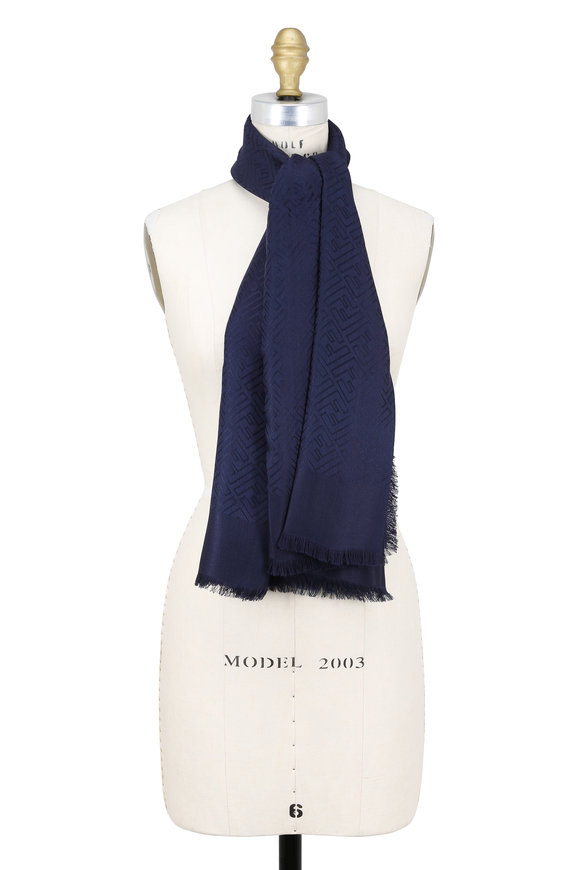 Fendi Navy Blue Logo F Shawl