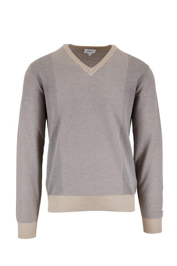 Brioni Beige & Tan V-Neck Sweater