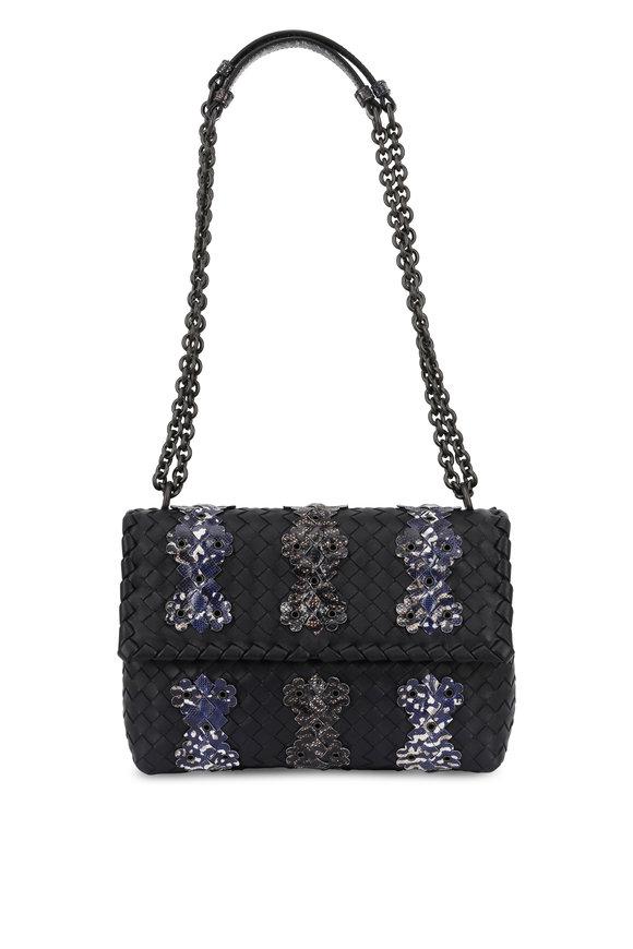 Bottega Veneta Olimpia Navy Blue Intrecciato & Karung Garland Bag
