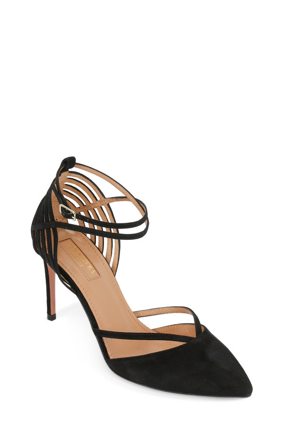 Aquazzura Crosswalk Black Suede Strappy D'Orsay Pump, 85mm