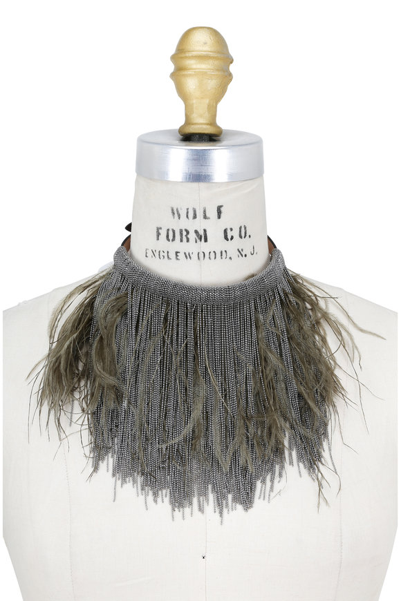 Brunello Cucinelli Monili & Fern Green Ostrich Fur Choker Necklace