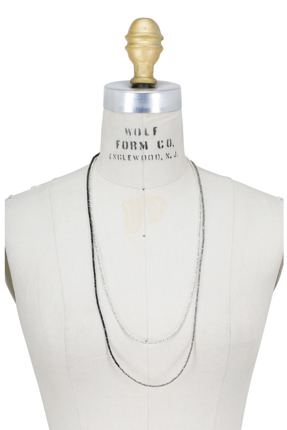 Brunello Cucinelli Black & Silver Convertible Wrap Necklace