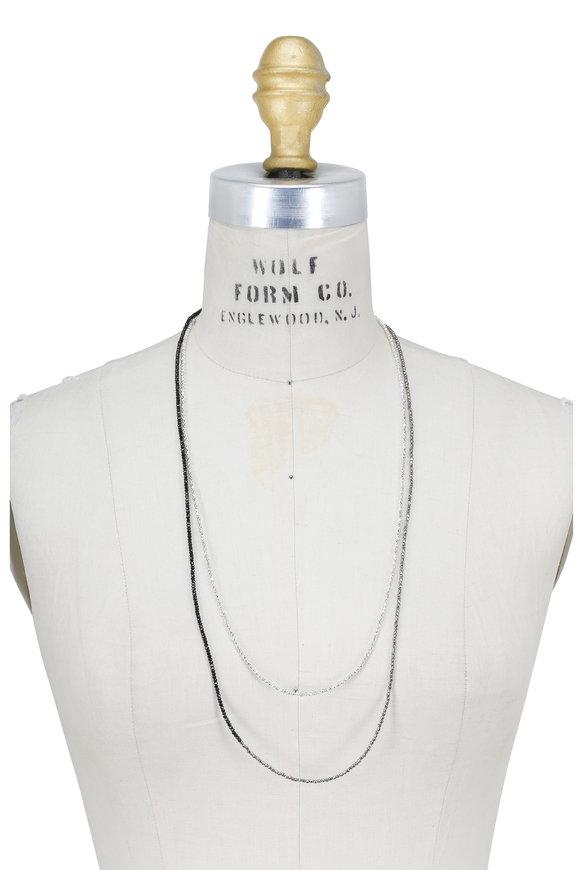 Brunello Cucinelli Black & Silver Convertible Wrap Necklace