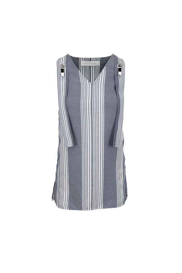 Victoria, Victoria Beckham Chambray Striped Sleeveless Mini Dress