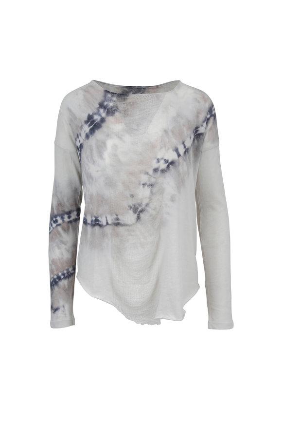 Raquel Allegra Stone Tye-Dye Long Sleeve Shredded Top