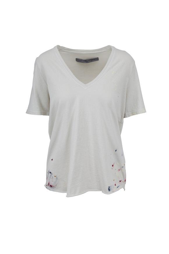 Raquel Allegra Dirty White Paint Splatter V-Neck T-Shirt