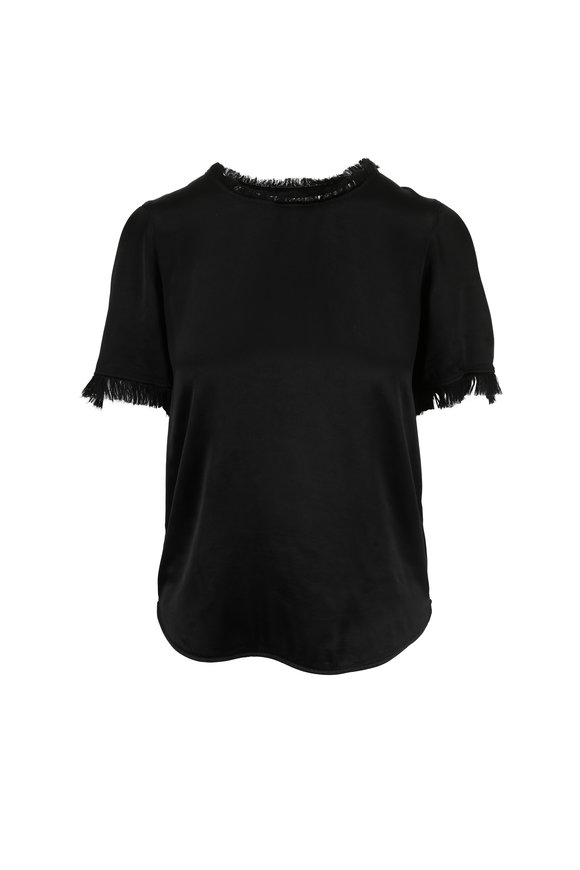 Raquel Allegra Black Fringe Detail Shrunken T-Shirt