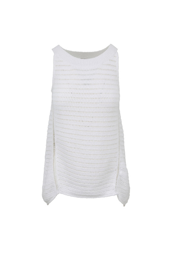 Kinross White Open Knit Swing Tank
