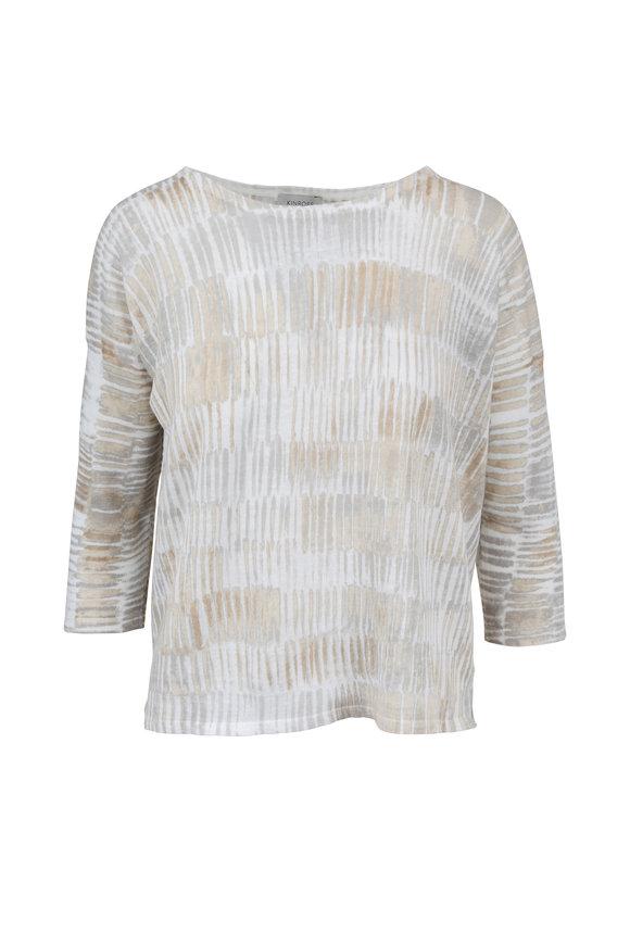 Kinross Beachwood Brushstroke Print Linen Sweater