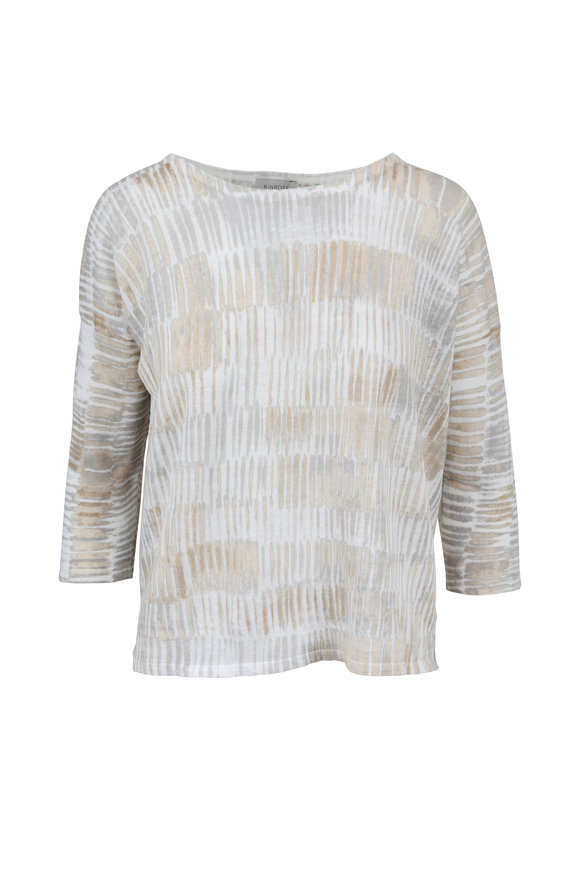 Kinross Beachwood Brushstroke Print Linen Sweater