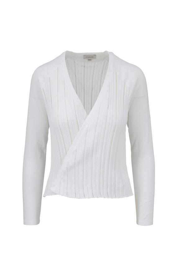 Kinross White Cotton Open Cardigan