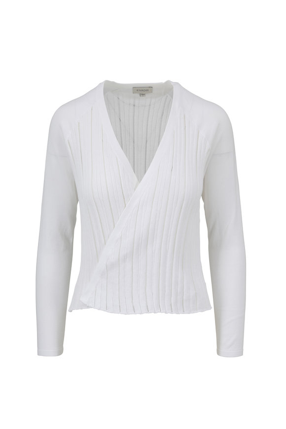 Kinross White Cotton Open Cardigan