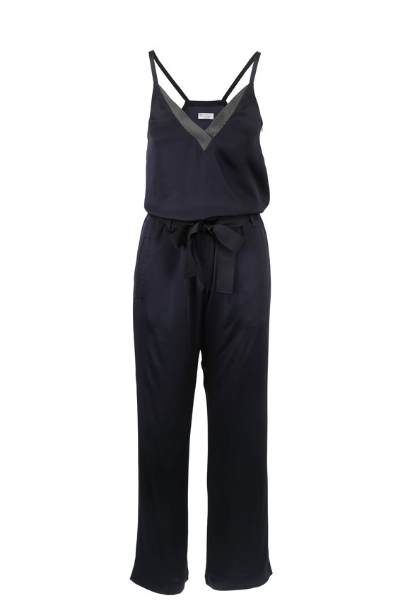 Brunello Cucinelli Midnight Monili V-Neck Belted Jumpsuit