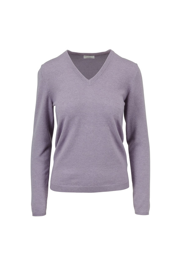 Brunello Cucinelli Lilac Cashmere V-Neck Sweater