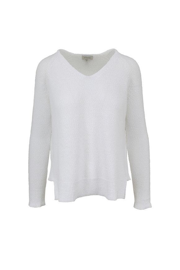 Kinross White Cotton V-Neck Sweater
