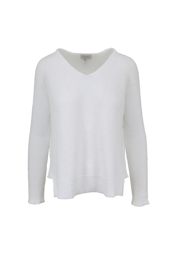 Kinross White Cotton V-Neck Sweater
