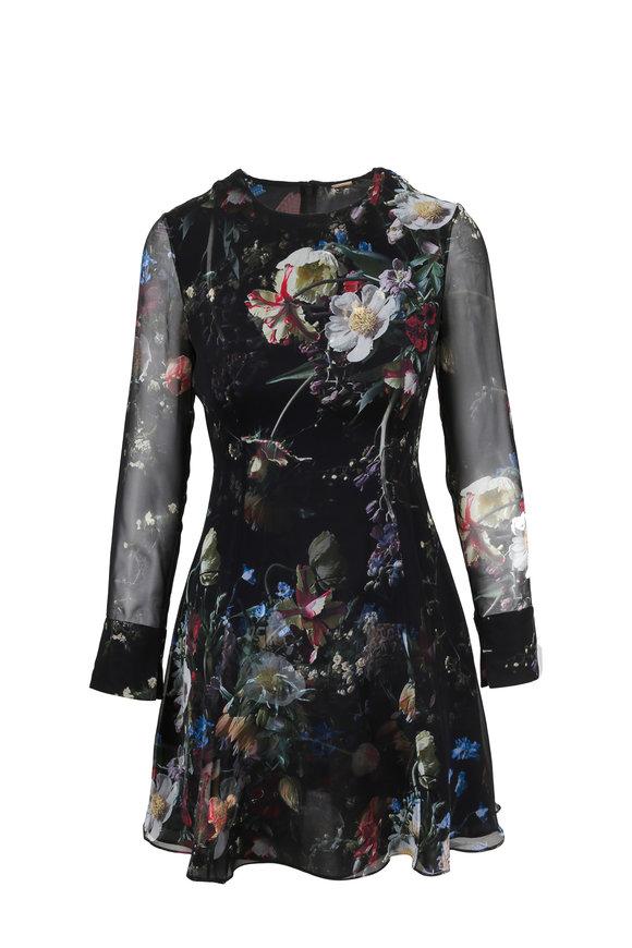 Adam Lippes Black Floral Print Silk Mini Dress
