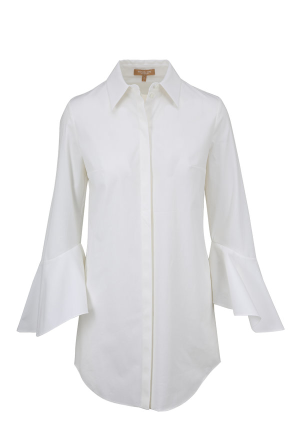 Michael Kors Collection White Bell Sleeve Poplin Blouse