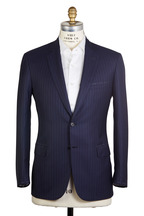 Brioni - Navy Blue Striped Worsted Wool Suit