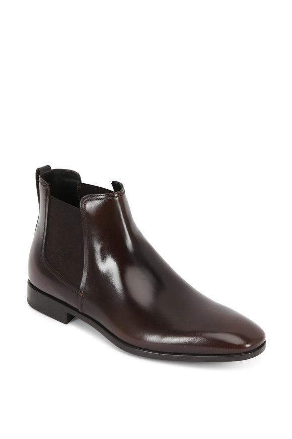 Salvatore Ferragamo Casper Dark Brown Leather Chelsea Boot