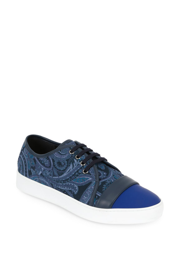 Etro Blue Paisley Canvas & Leather Sneaker