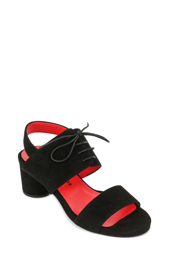 Pas de Rouge Chanta Black Suede Tie-Band Sandal, 60mm