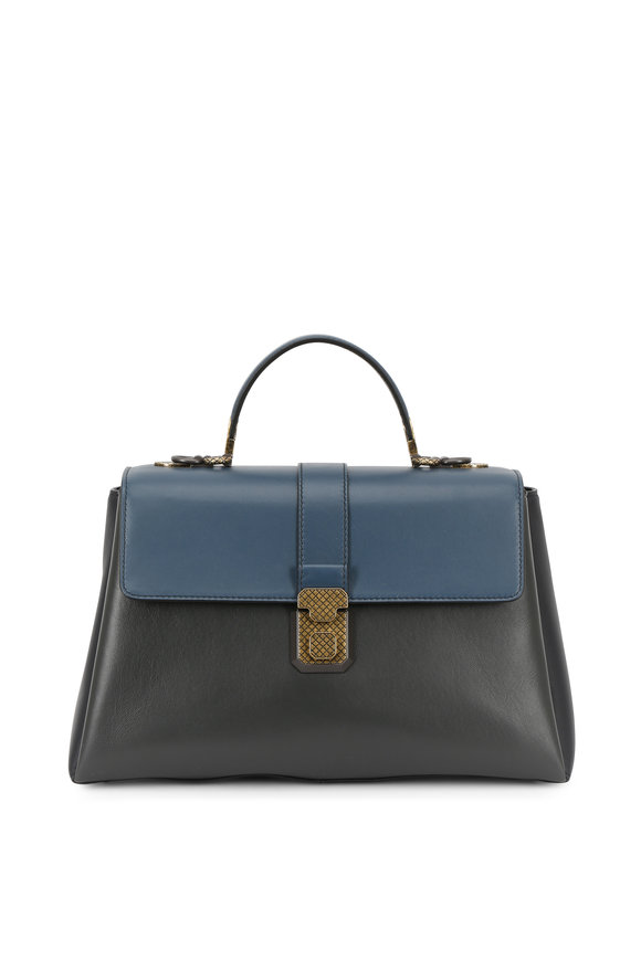 Bottega Veneta Piazza Denim Blue  & Gray Leather Small Bag