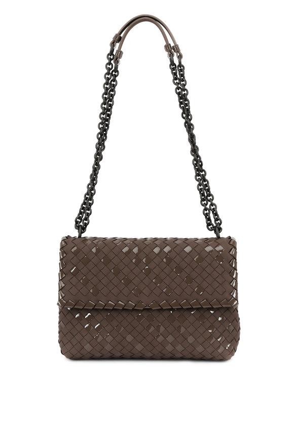 Bottega Veneta Bark Leather Intrecciato Flap Shoulder Bag