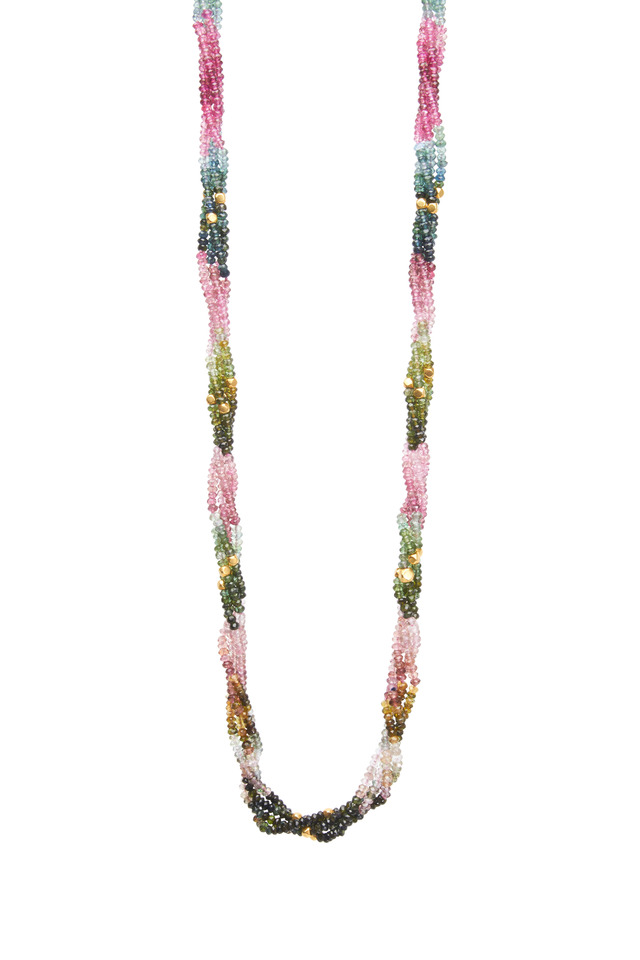 Yellow Gold Touraline Bead Necklace