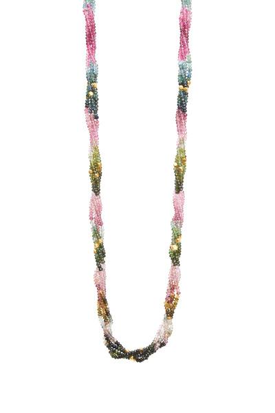 Frank Ancona - Yellow Gold Touraline Bead Necklace