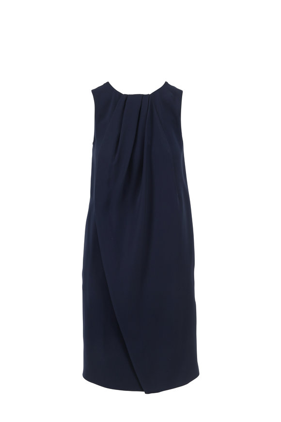 Emporio Armani Navy Blue Pleated Neckline Sleeveless Dress