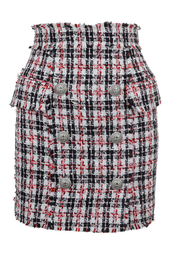 Balmain Red, Black, & White Bouclé Skirt
