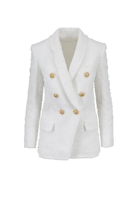 Balmain White Bouclé Double-Breasted Jacket