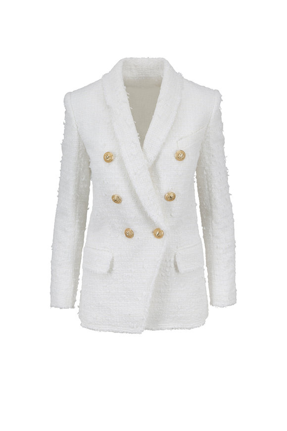 Balmain White Bouclé Double-Breasted Jacket