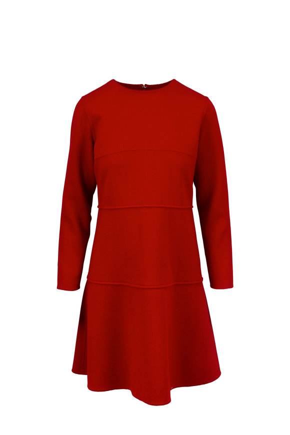 Oscar de la Renta Ruby Red Long Sleeve Wool Dress