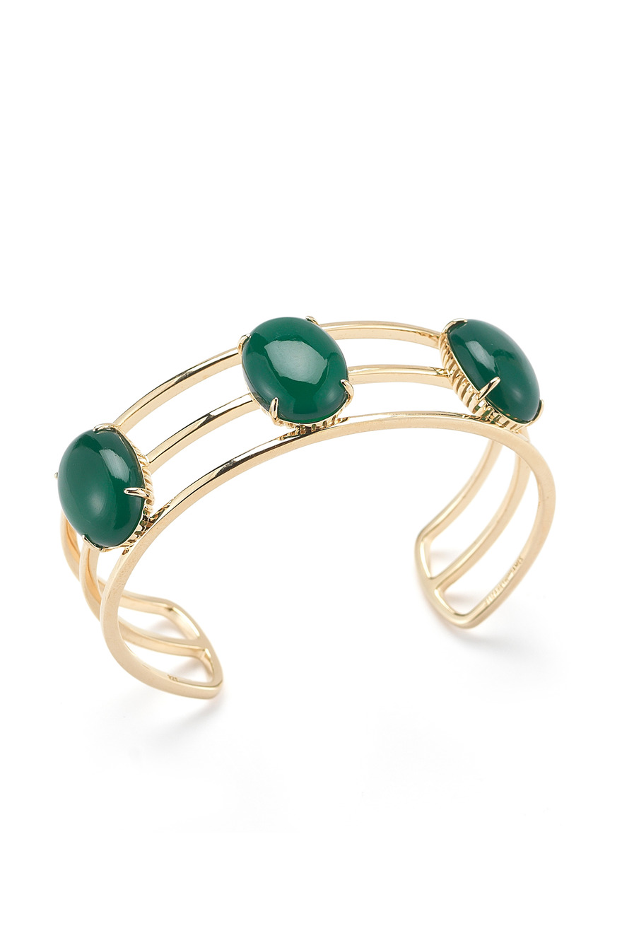 Gold Plated Berlin Oval Cabochon Cuff With Green Agate