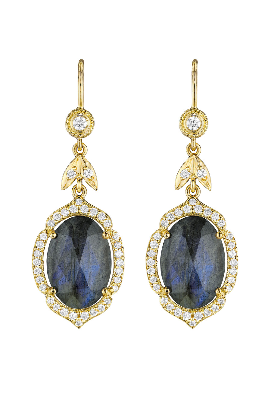 Yellow Gold Oval Rose Cut Labradorite Diamond Earrings