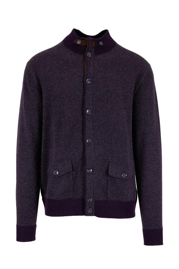 Raffi  Cabernet Cashmere Button Cardigan