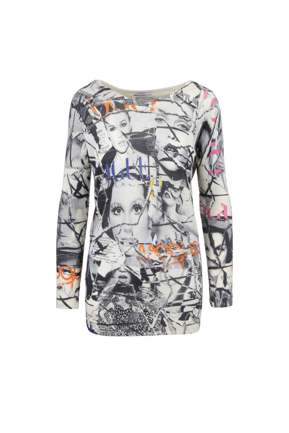 Printed Artwork Gray Vogue Cover Print V-Neck Sweater