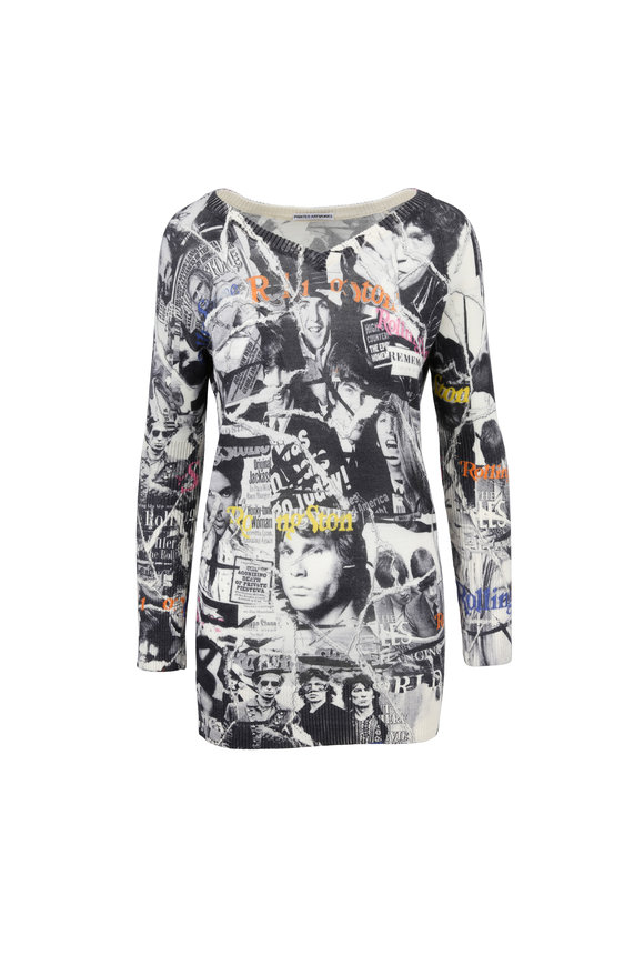 Printed Artwork Gray Rolling Stone Cover Print V-Neck Sweater