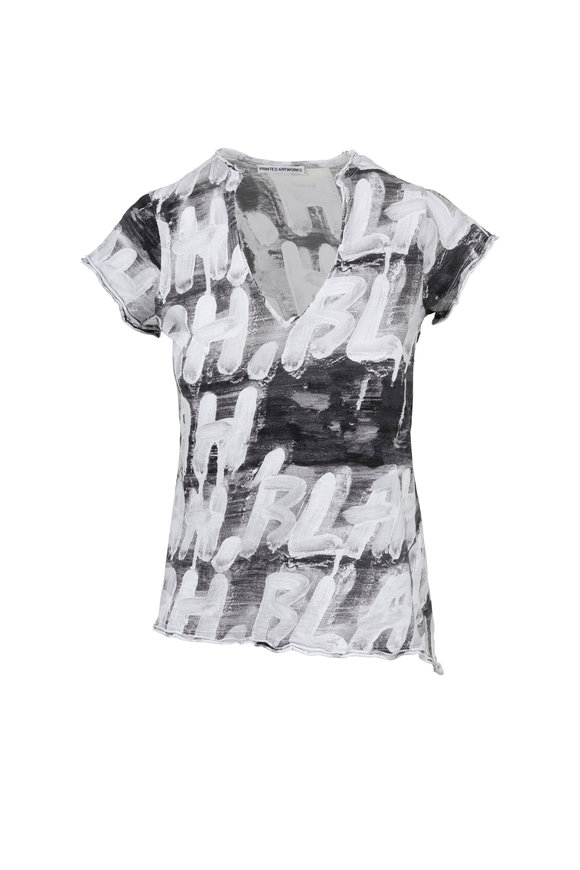 Printed Artwork Grey Multicolor Graphic Print V-Neck T-Shirt