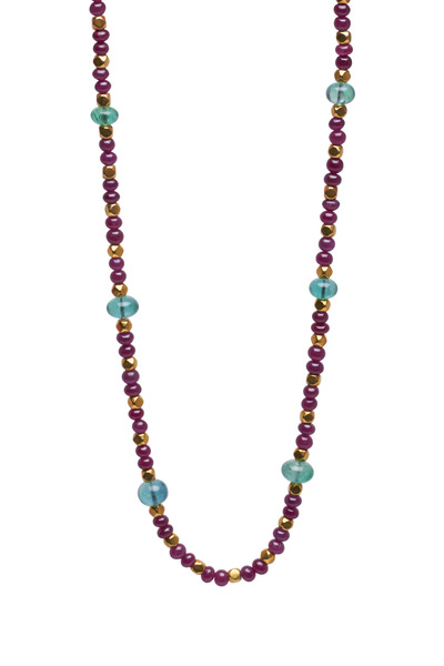 Frank Ancona - Yellow Gold Ruby & Emerald Bead Necklace